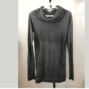 Helmut Lang Womens Cowl Neck Hooded Tee XS Gray